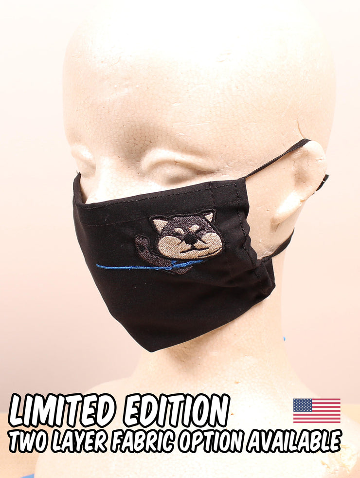 Not in the Mood Black Shiba Inu Embroidered Black Face Mask - LIMITED EDITION