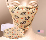 Not In the Mood Shiba Inu -  2 Layer Face Mask with Filter Pocket Washable, Reusable, Breathable. Free Filter