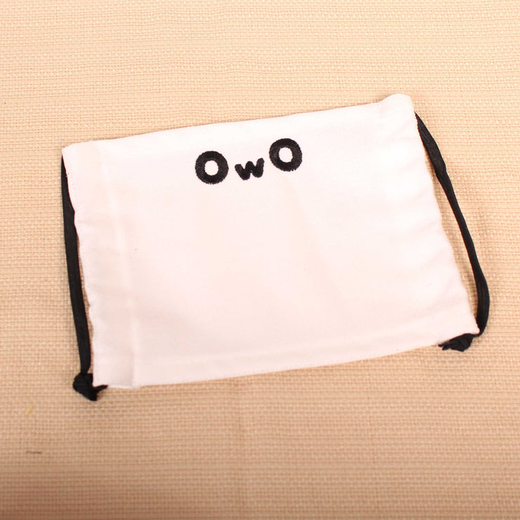 OwO Embroidered White Face Mask