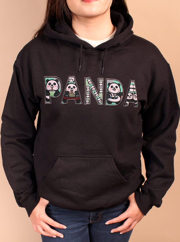 PANDA Life Applique Embroidered Unisex Hoodie - Black