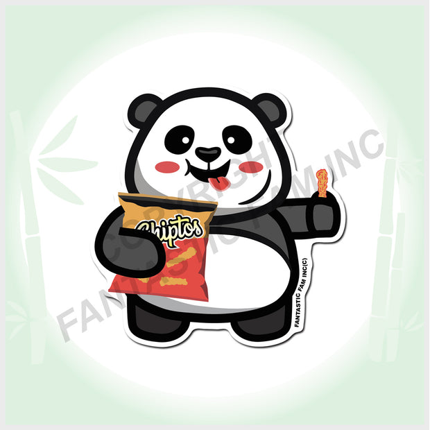 I LOVE Chips Panda Vinyl Sticker