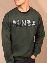 PANDA Life - Applique Embroidered Unisex Crewneck Sweatshirt - Forest Green