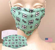 Panda Hug 2 Layer Face Mask with Filter Pocket Washable, Reusable, Breathable. Free Filter Free Sticker.