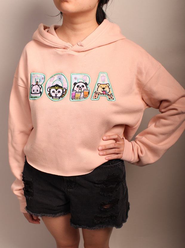 Boba Party -  Women's Cropped Fleece Hoodie - Peach