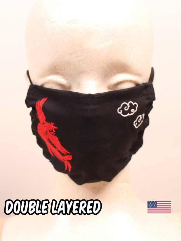 Fire Phoenix Embroidered Black Double Layered Face Mask
