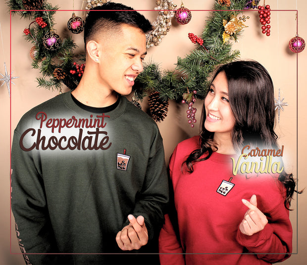 Holiday Caramel Vanilla Boba Embroidered Unisex Crewneck Sweater - Red