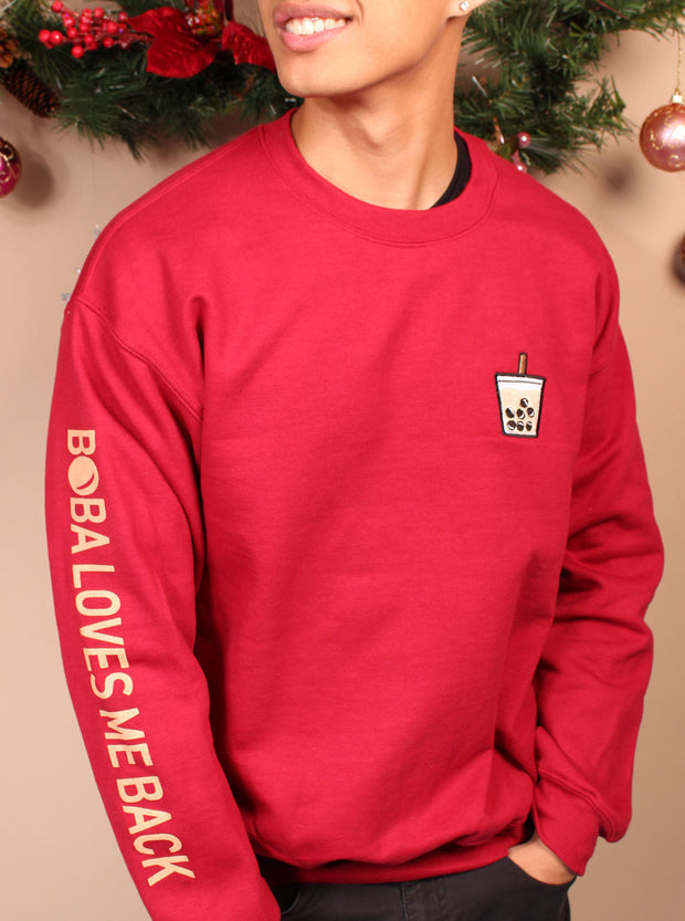Holiday Boba Chocolate + Vanilla Unisex Crewneck Sweater - Green/Red