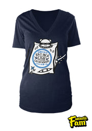 Eat Rice Live Legendary Woman's V-Neck Shirt - Navy