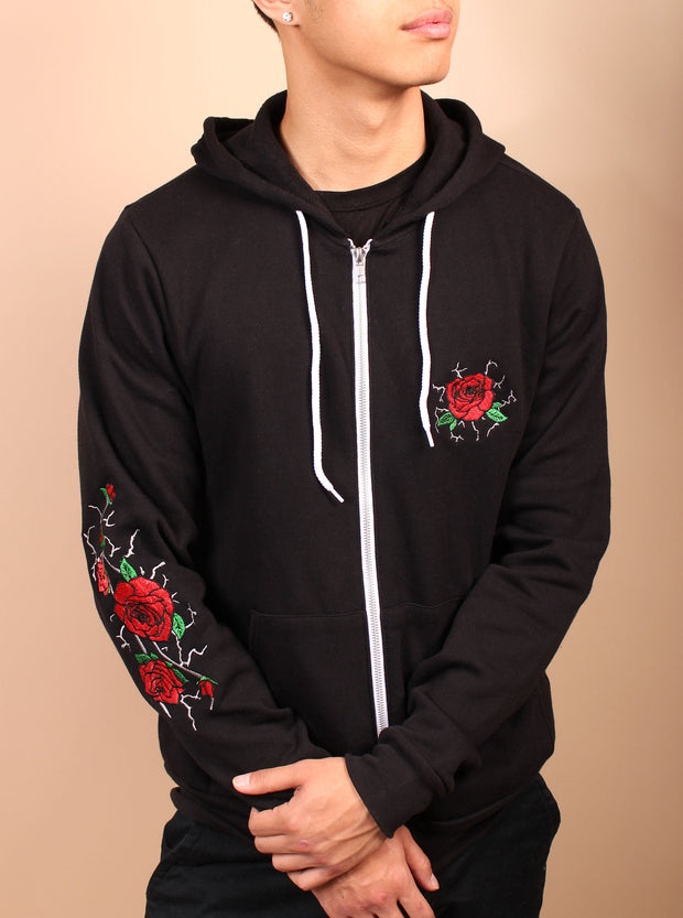 Kintsugi Inspired Rose Embroidered Unisex Zip Up Hoodie - Black