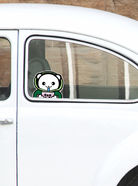 Sweater Weather & Boba Peeking Vinyl Sticker