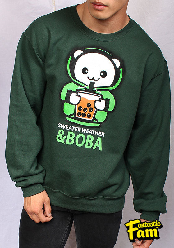 Sweater Weather and Boba Unisex Crewneck Sweater - Green