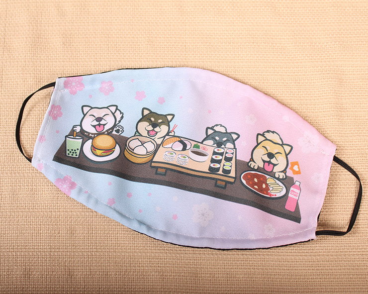 Shiba Smile Squad Foodie FEAST 2 Layer Face Mask with Filter Pocket Washable, Reusable, Breathable. Free Filter Free Sticker.