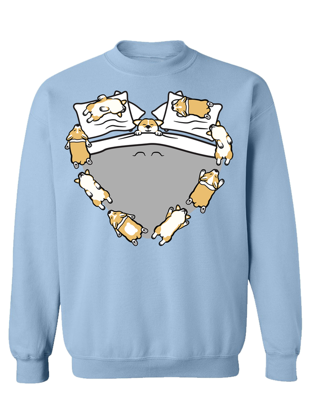 Sleeping Puppers Unisex Crewneck Sweater - Blue