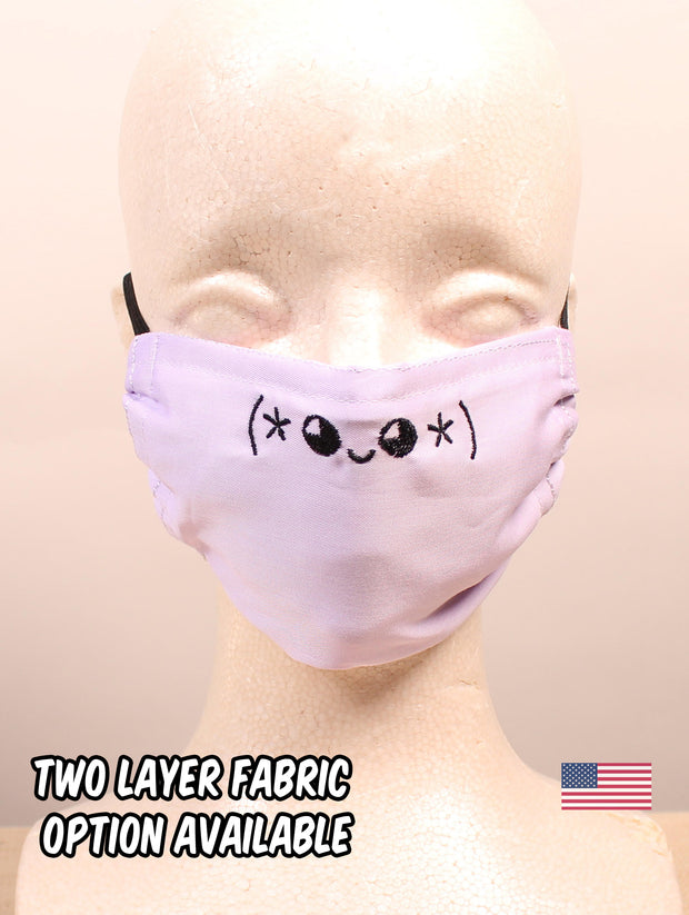 Star Kawaii Emoticon Embroidered Lavender Face Mask