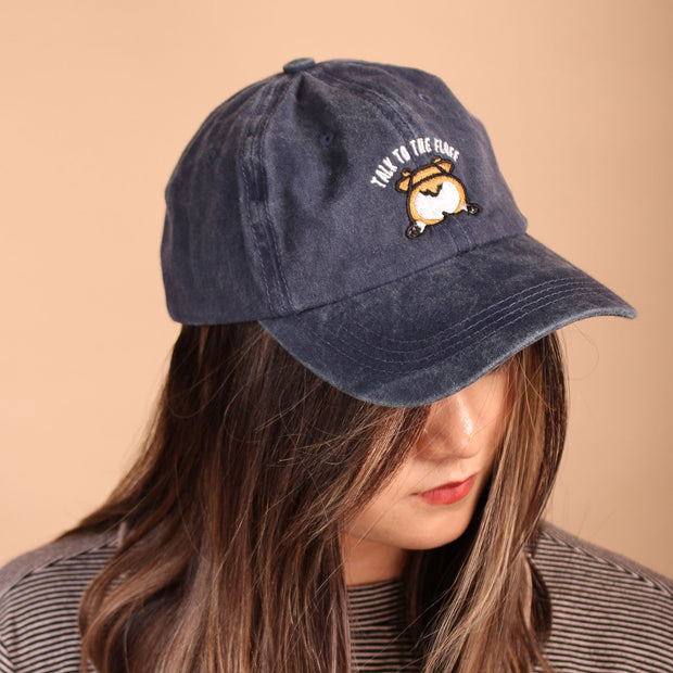 Talk to the Fluff Corgi Dad Cap - Navy
