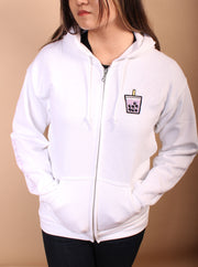 Taro Boba Embroidered Unisex Zipper Hoodie - White