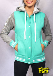 Cherry Blossoms Woman's Jacket - Teal