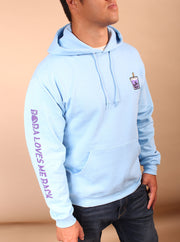 Ube Boba Embroidered Unisex Hoodie - Blue