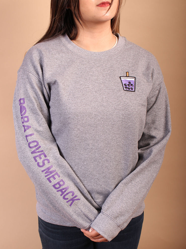 Ube Boba Embroidered Unisex Crewneck Sweater - Gray Crewneck