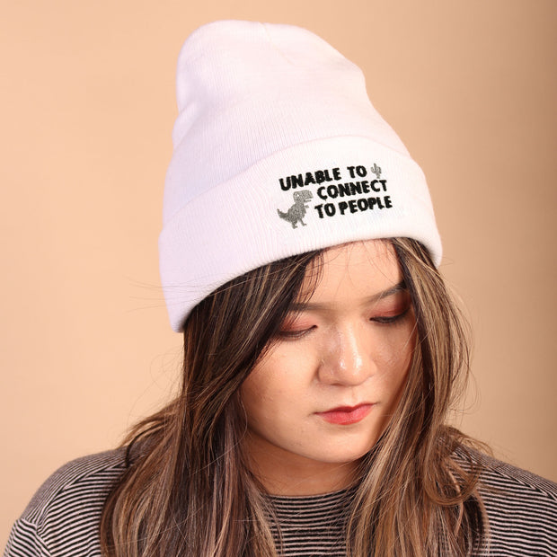Unable to Connect to People Beanie - White