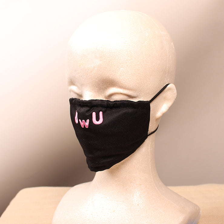 UwU Embroidered Pink/Black Face Mask