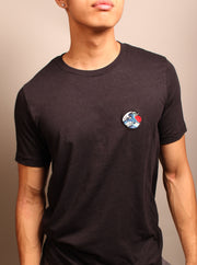 The Great Wave Embroidered Unisex Tshirt - Black Heather
