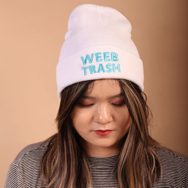 Weeb Trash Beanie - White/Blue