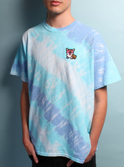 Cool Dream Corgi - Tie Dye Embroidered Unisex Tshirt - Wildflower Blue