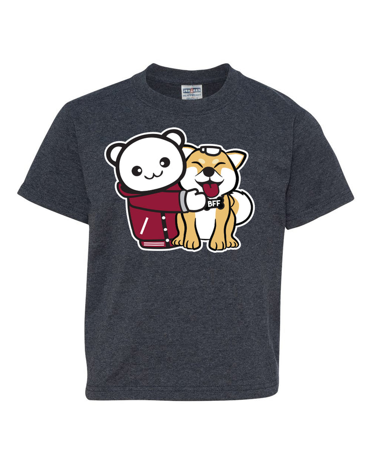 BFF Shiba Hug Kids T-Shirt - Heather Gray