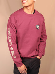 Milk Tea Boba Embroidered Unisex Crewneck Sweater - Maroon
