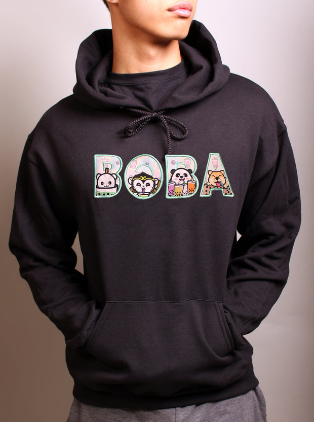 Boba Party  Applique Embroidered Unisex Hoodie - Black