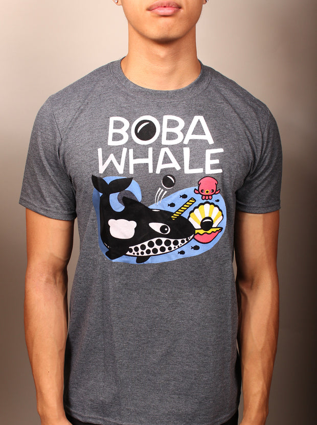 Boba Whale Unisex T-Shirt - Heather Gray