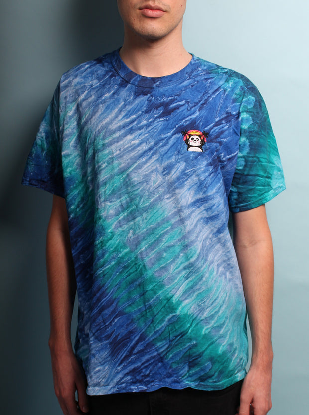 Relaxed Vaporwave Panda - Tie Dye Embroidered Unisex Tshirt - Blue Blast