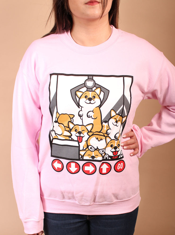Corgi Claw Machine Unisex Crewneck Sweater - Pink