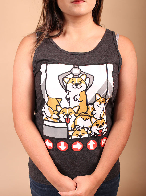 Corgi Claw Machine Unisex Tank Top - Heather Black