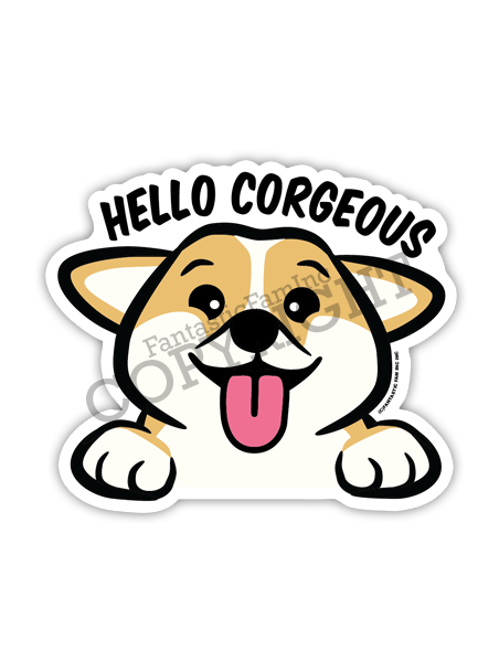 Hello Corgeous Corgi Peeking Vinyl Sticker