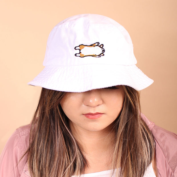 Corgi Belly Bucket Hat - White