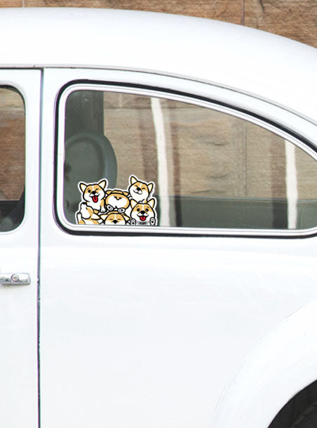 Corgi Clutter Peeking Vinyl Sticker