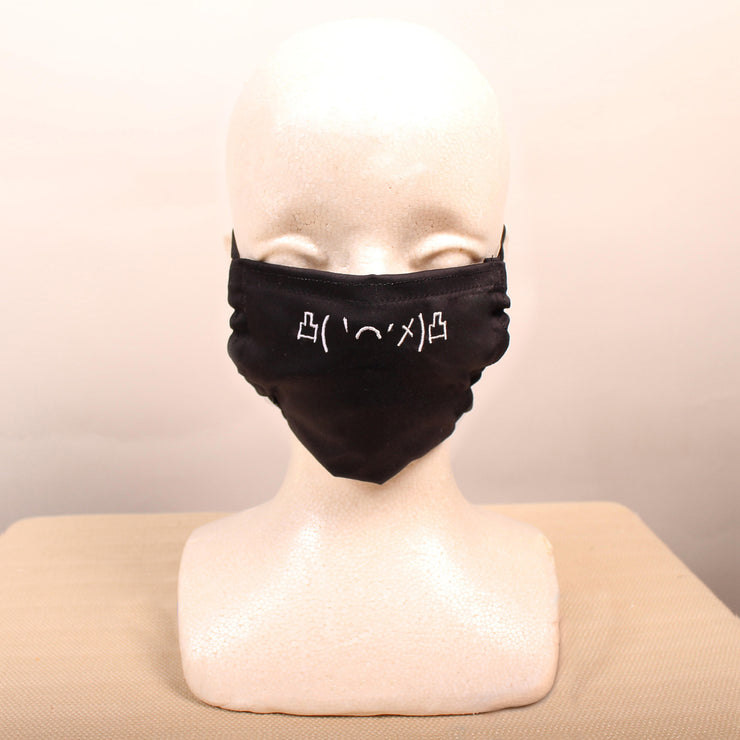 Flip You Emoticon Embroidered Black Face Mask