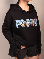 Foodie Party (Shiba) -  Women's Cropped Fleece Hoodie - Black
