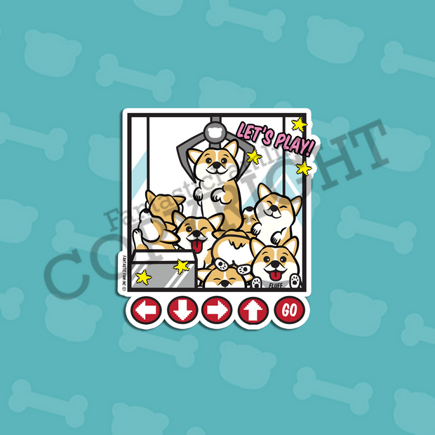Claw Machine Corgi Vinyl Sticker