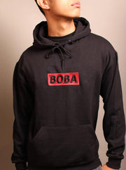 Boba Red Embroidered Unisex Hoodie - Black