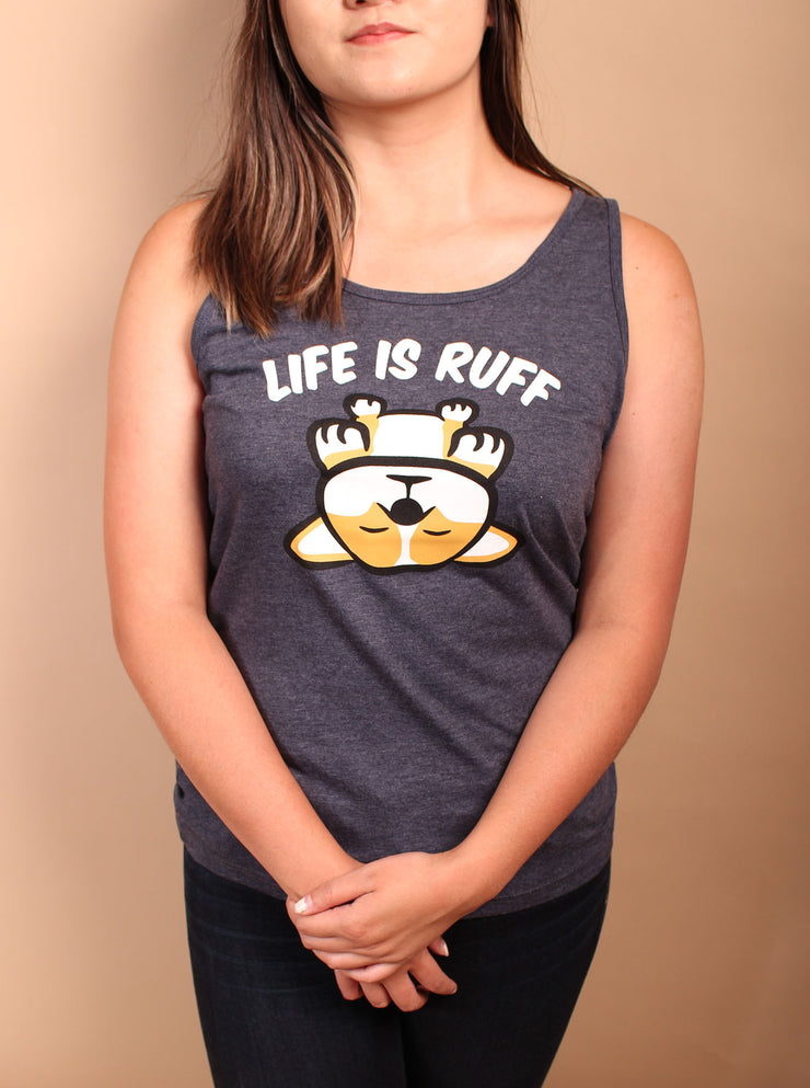 Life is Ruff Unisex Tank Top - Heather Navy
