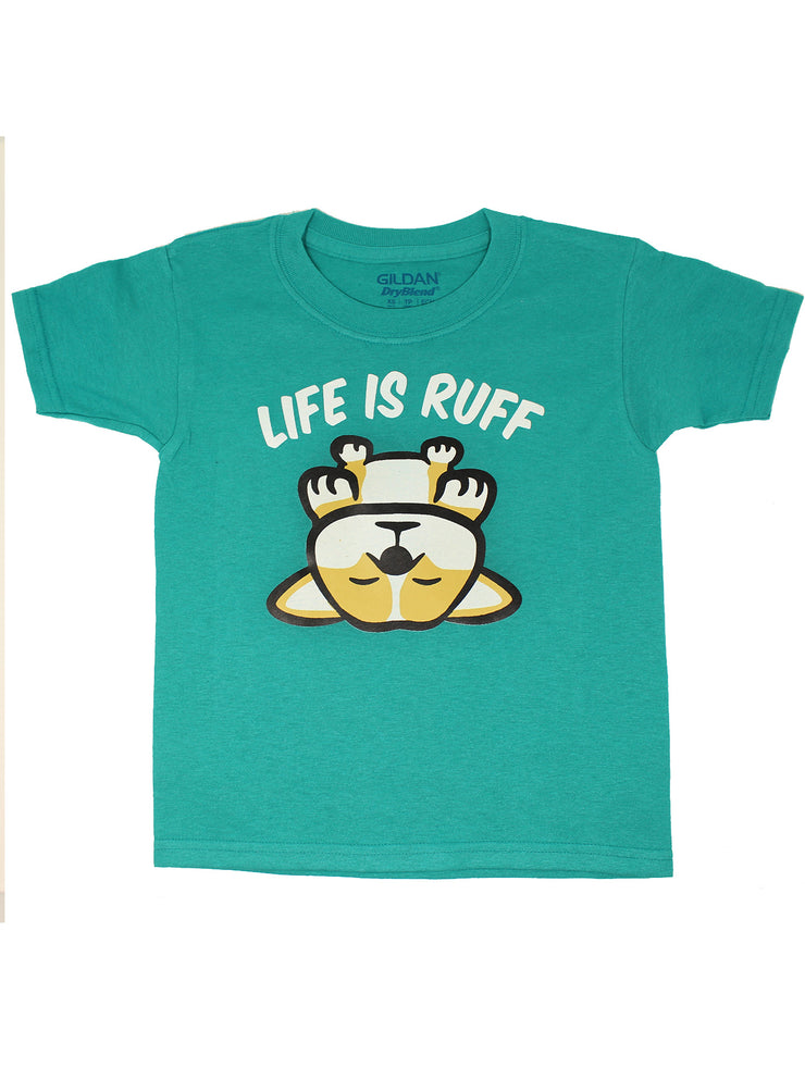 Life Is Ruff Kids T-Shirt - Tropical Blue