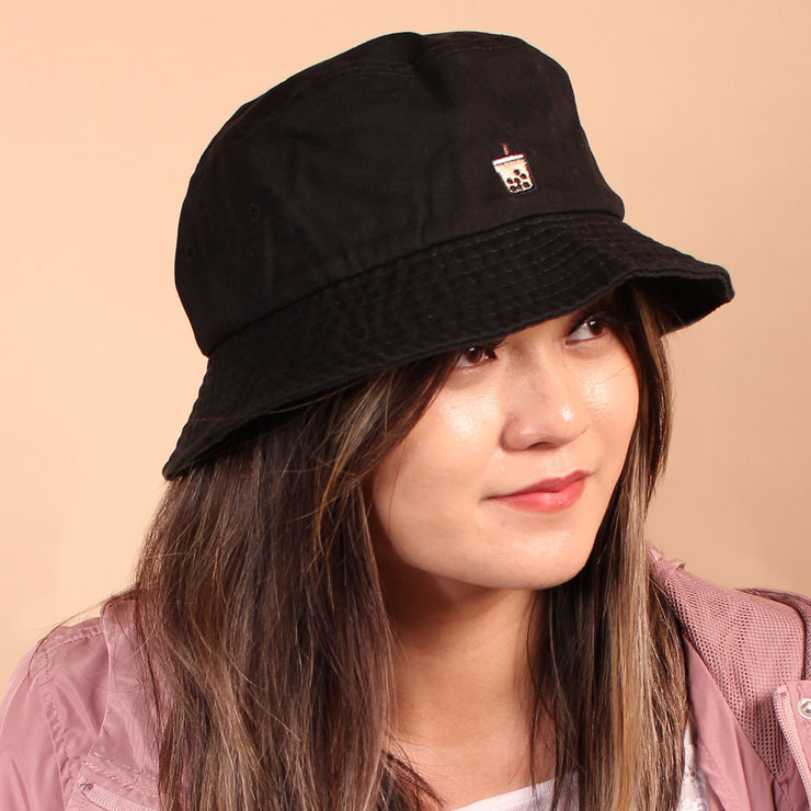 Milk Tea Boba Bucket Hat - Black