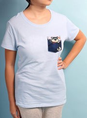 Not In The Mood Shiba Inu Black Pocket Womens Tshirt - Baby Blue