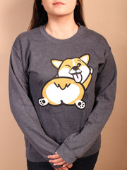 Shake That Fluff Corgi Unisex Crewneck Sweater - Gray