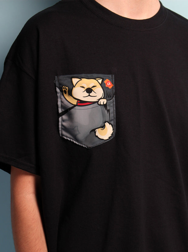 Not in the Mood Shiba Inu RED Pocket Unisex Tshirt - Black