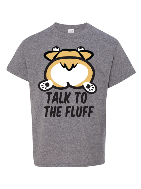 Talk to the Fluff Kids T-Shirt - Heather Gray