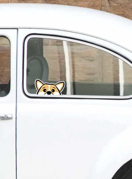 Tan Corgi Peeking Vinyl Sticker